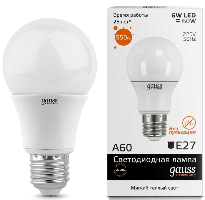 Лампа Gauss LED Elementary A60 E27 6W 2700K
