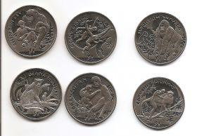 Обезьяны  Набор монет 1 доллар Сьерра-Леоне 2009-2010-2011 ( 6 монет)