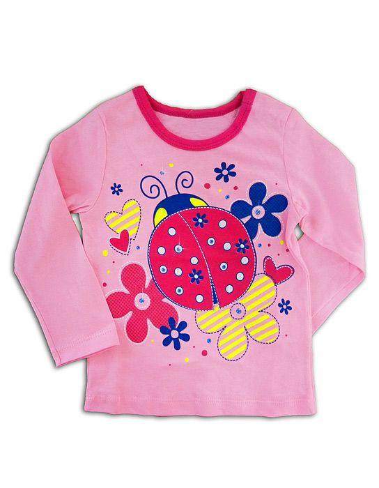 Блуза для девочки Божья коровка розовая