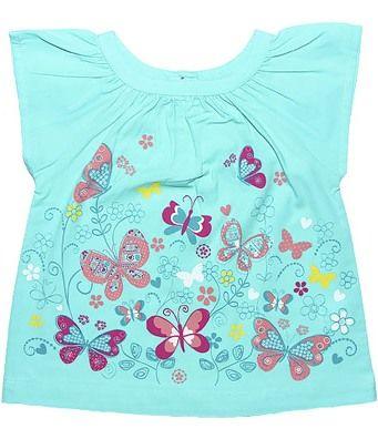 Блуза для девочки Красивые бабочки бирюза