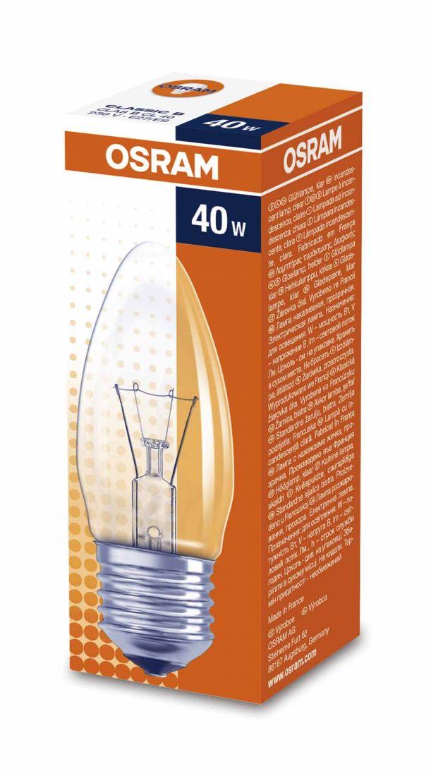 Лампа OSRAM B 40W E27CL