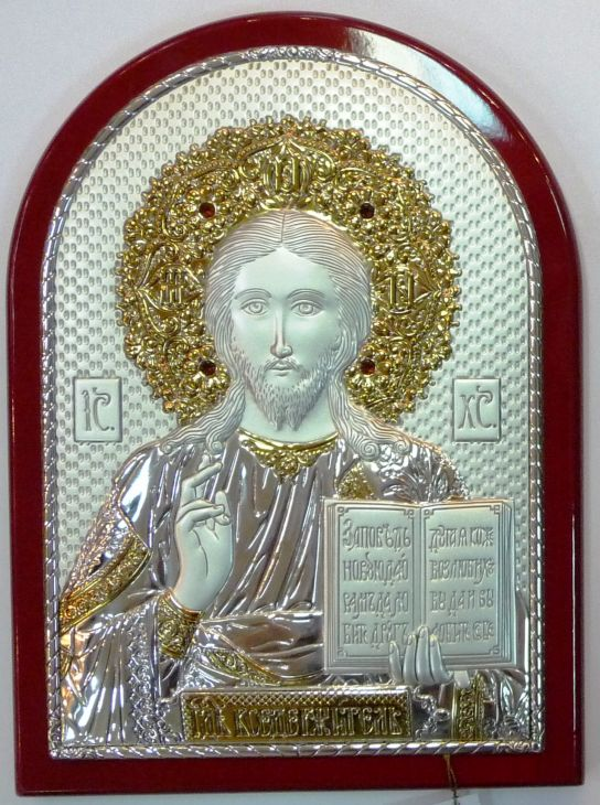 Инкрустированная гранатами серебряная с золочением икона Иисуса Христа Спасителя (14,5*20 см, Россия) в подарочной коробке