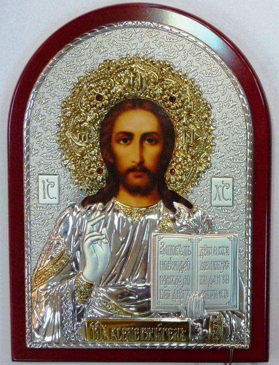 Инкрустированная драгоценными камнями серебряная с золочением икона Иисуса Христа Спасителя (14.5*20 см, Россия) в подарочной коробке