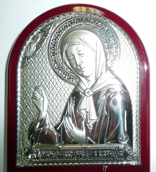 Серебряная икона Святой Блаженной Матроны Московской (7*8.5см., Россия) в дорожном футляре