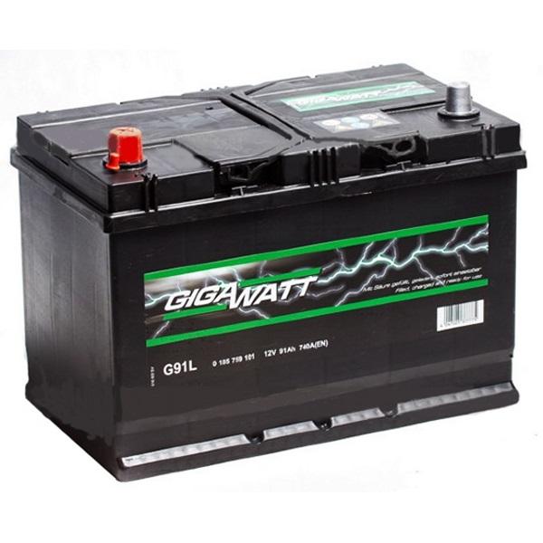 Автомобильный аккумулятор АКБ GigaWatt (Гигават) G91L 591 401 074 91Ач п.п.