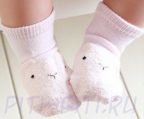 Носочки теплые розовые (10-11 см) с тормозками