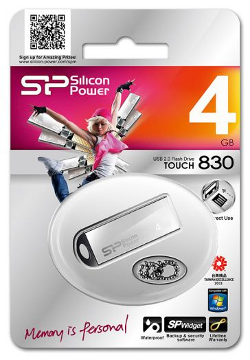 USB накопитель Silicon Power 4GB Touch 830 Silver