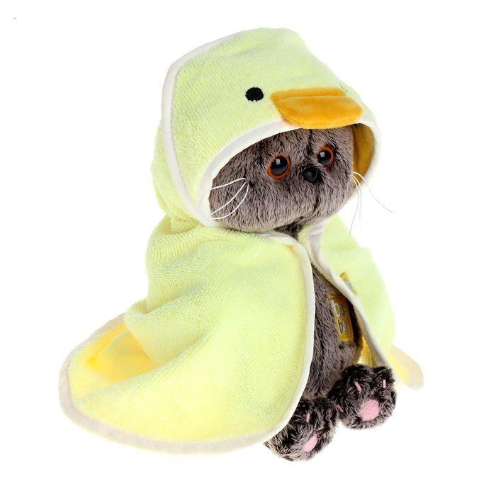 Кот Басик BABY в полотенце с капюшоном