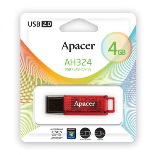 USB накопитель Apacer 4GB AH324 red