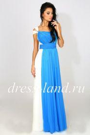 Голубое платье в пол с бретелью на одно плечо