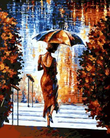"""Раскраска по номерам """"Девушка под зонтом"""""""