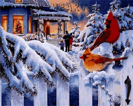 """Раскраска по номерам """"Рождественский вечер"""""""