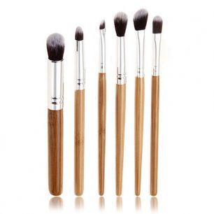 Кисти для макияжа 6 штук, набор. Бамбуковые ручки