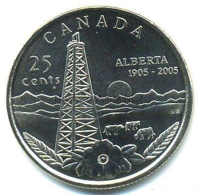 Канада 25 центов 2005 г Альберта