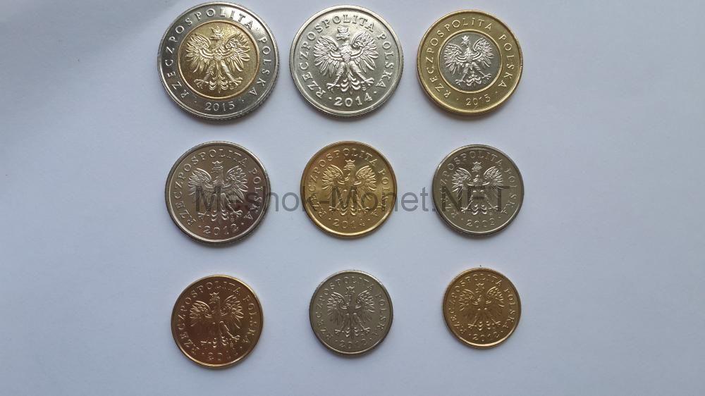 Польша набор разменных монет 2009-2015