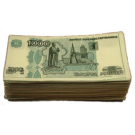 Салфетки Пачка 1000 рублей 2-х слойные