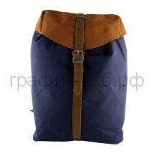 Рюкзак Феникс с элементами кожзама синий/коричневый 40400
