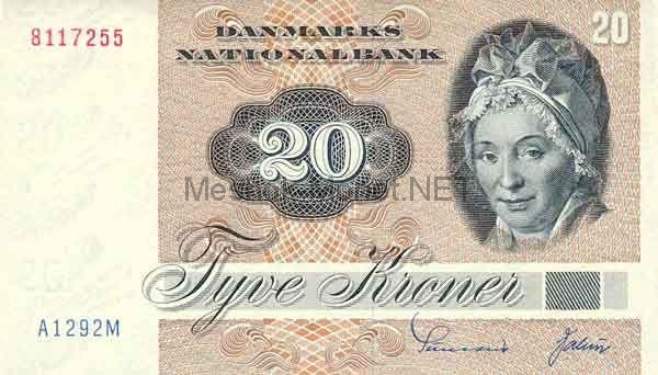 Банкнота Дания 20 крон 1988 г