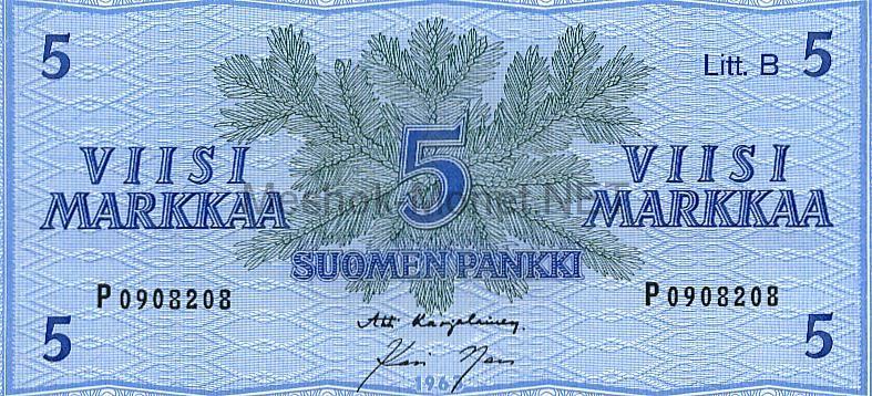 Банкнота Финляндия 5 марок 1963г
