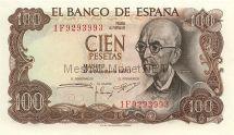Банкнота Испания 100 песет 1970 год