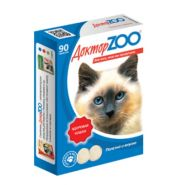 Доктор ZOO Здоровая кошка Мультивитаминное лакомство для кошек с морскими водорослями (90 табл.)