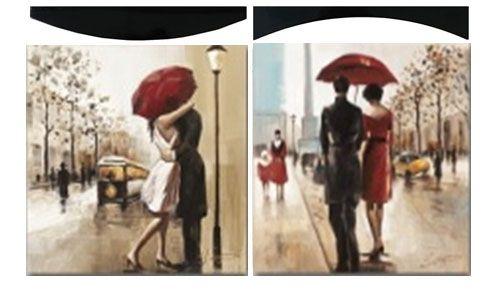 """Картина """"Поцелуй под дождем"""" (пара), 58х58 см"""