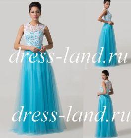Голубое вечернее платье с пышной юбкой