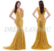 Золотое вечернее платье со шлейфом