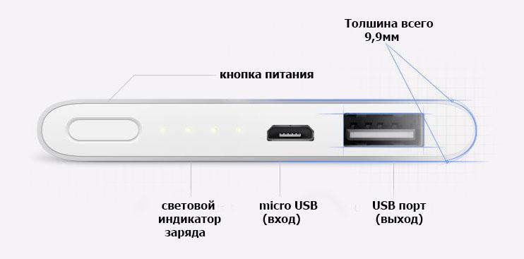 внешний аккумулятор Xiaomi Mi Power Bank 2 5000mah купить в