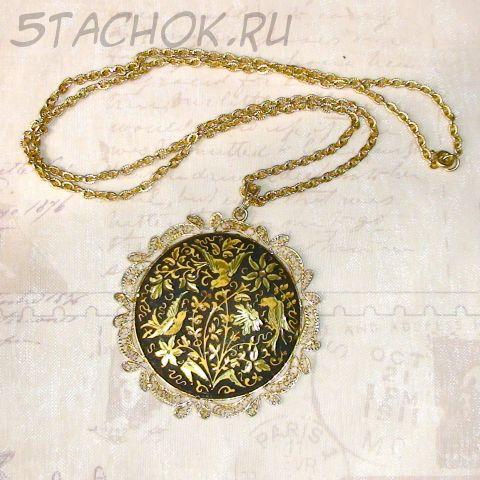 """Колье-медальон """"Райские птицы"""" в стиле Damascene"""