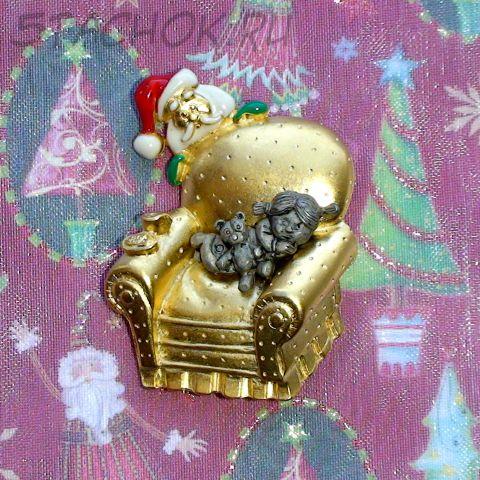 "Брошь ""Девочка и Санта"" под золото/олово/эмаль"
