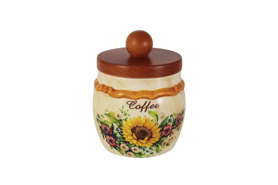 """Банка для сыпучих продуктов с деревянной крышкой (кофе) """"Подсолнухи Италии"""", 0.5 л"""