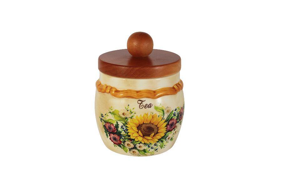 """Банка для сыпучих продуктов с деревянной крышкой (чай) """"Подсолнухи Италии"""", 0.5 л"""