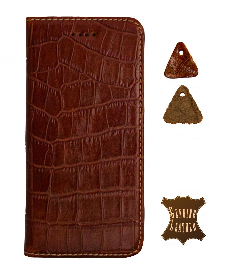 Кожаный чехол PALMEXX для Apple iphone 6/6S крокодил (коричневый)