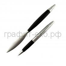 Набор Lerche Ручка шариковая + нож Soft Touch черный/матовый хром 84604
