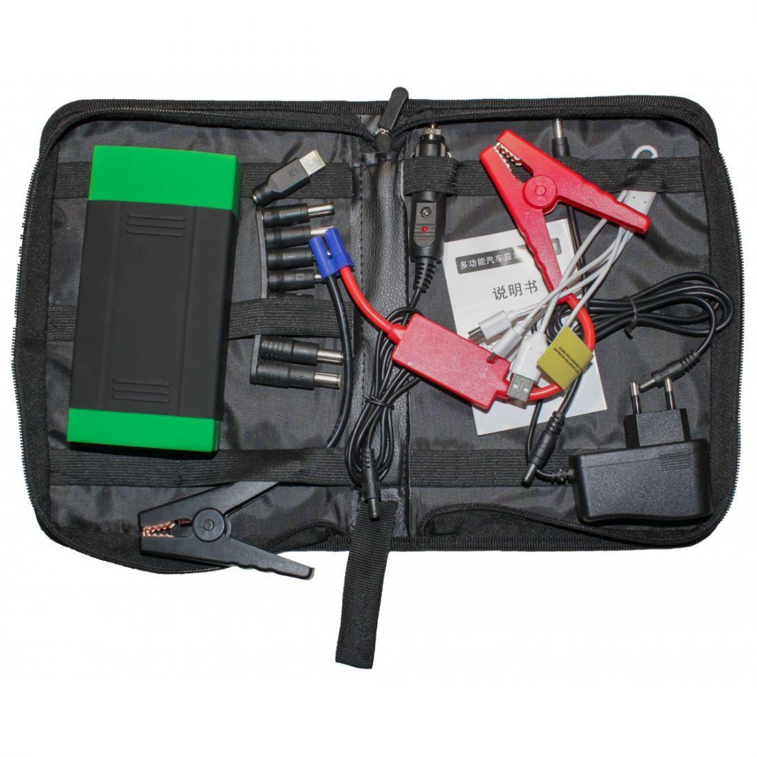 Автомобильное портативное пуско-зарядное устройство с пауэрбанком DOCA D589 (5V-19V, 3A, 15000mAh)