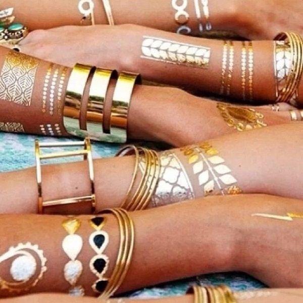 Временные флэш татуировки Shimmer Jewelry Tattoos (золото, серебро на 4 листах, 70 шт.)