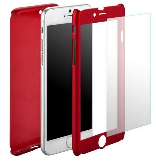 Чехол Paky 360 градусов защиты для iPhone 7/8 + стекло на экран (красный)