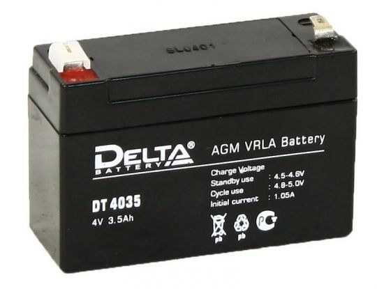 Аккумулятор свинцово-кислотный АКБ DELTA (Дельта) DT 4035 4 Вольт 3.5 Ач