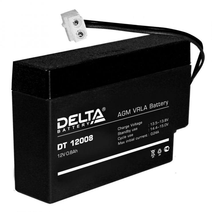 Аккумулятор свинцово-кислотный АКБ DELTA (Дельта) DT 12008 12 Вольт 0.8 Ач