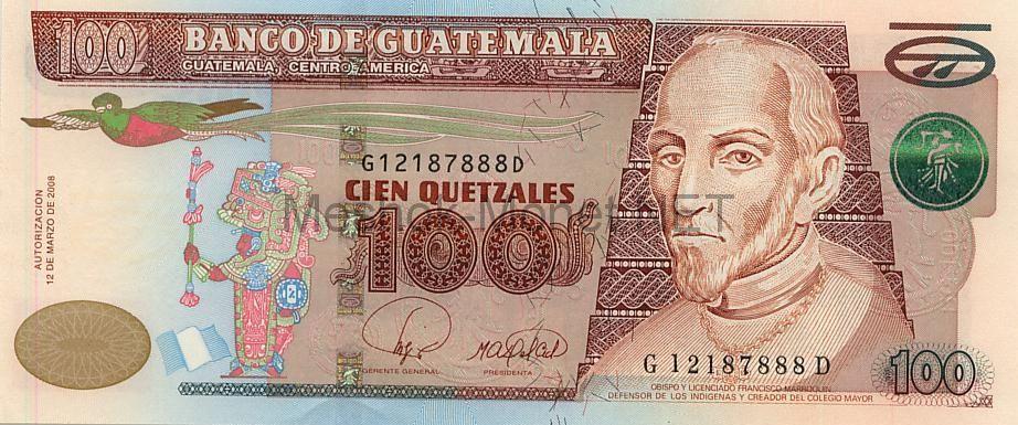 Банкнота Гватемала 100 кетцаль 2008 г