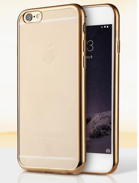 Силиконовый чехол для iphone 6/6s с золотым ободком