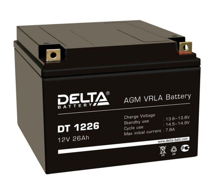 Аккумулятор свинцово-кислотный АКБ DELTA (Дельта) DT 1226 12 Вольт 26 Ач