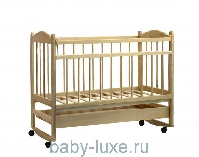 Кроватка детская Мишутка - 14 колесо/качалка/ящик