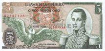 Банкнота Колумбия 5 песо 1978 год
