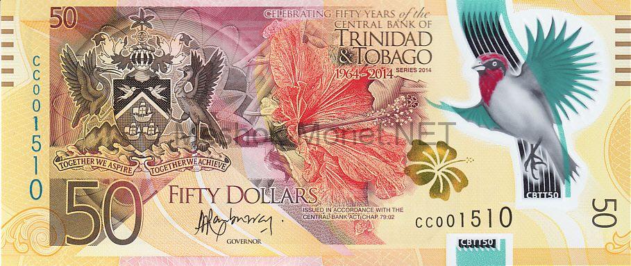 Банкнота Тринидад и Тобаго 50 долларов 2014 год - 50 лет национальной валюте