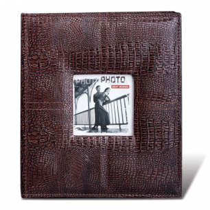 Фотоальбом BRAUBERG 20 магнитных листов, 23*28см, обложка под кожу, на кольцах, темн.коричн, 390493