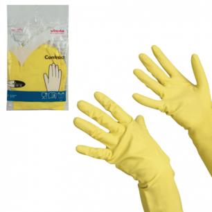 """Перчатки хоз. резиновые VILEDA """"Контракт"""" с х/б напылением, размер L (большой), желтые, 101018"""