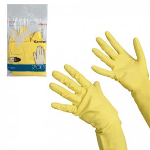 """Перчатки хоз. резиновые VILEDA """"Контракт"""" с х/б напылением, размер XL (оч.большой), желтые, 102588"""