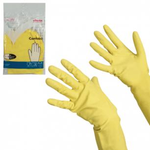"""Перчатки хоз. резиновые VILEDA """"Контракт"""" с х/б напылением, размер M (средний), желтые, 101017"""